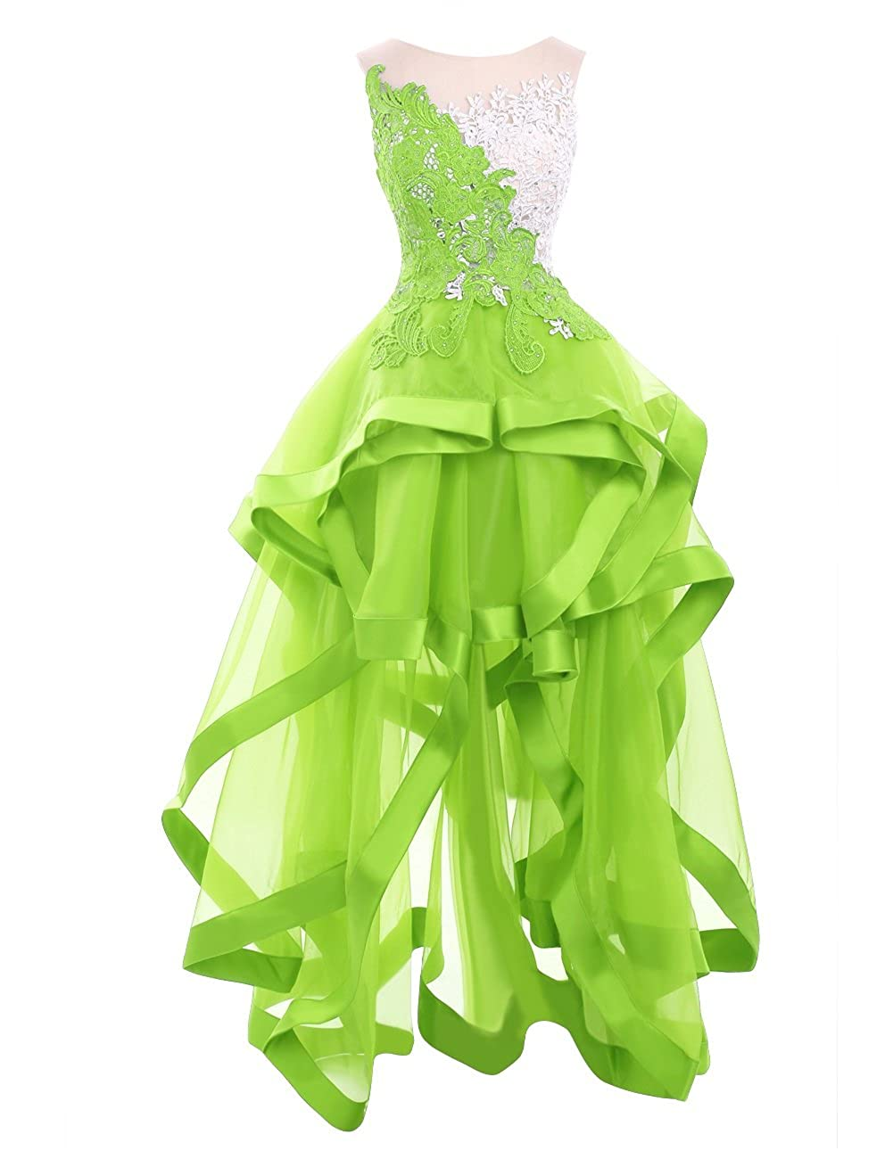 Lime Green Riveroy Women Formal Lace High Low Evening Dress See Through Ruffles Ball Gown Prom Party Dress(17 colors)