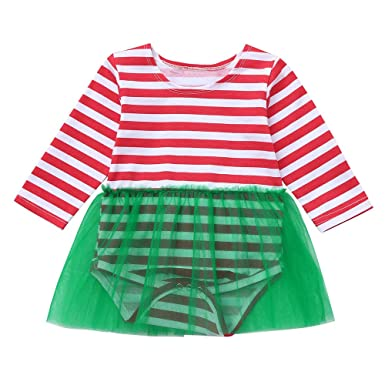 a261236a3aaa Amazon.com  Infant Baby Long Sleeve Striped Print Romper Dress ...