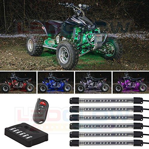 LEDGlow 6pc Million Color Flexible ATV UTV Quad 4x4 LED Lighting Kit - 15 Solid Colors - 9 Patterns - 6