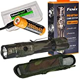 EdisonBright Fenix PD35 TAC 1000 Lumen CREE LED Tactical Flashlight (Camo) with Fenix USB rechargeable 18650 ARB-L18-3500U Li-ion battery and BBX3 battery case