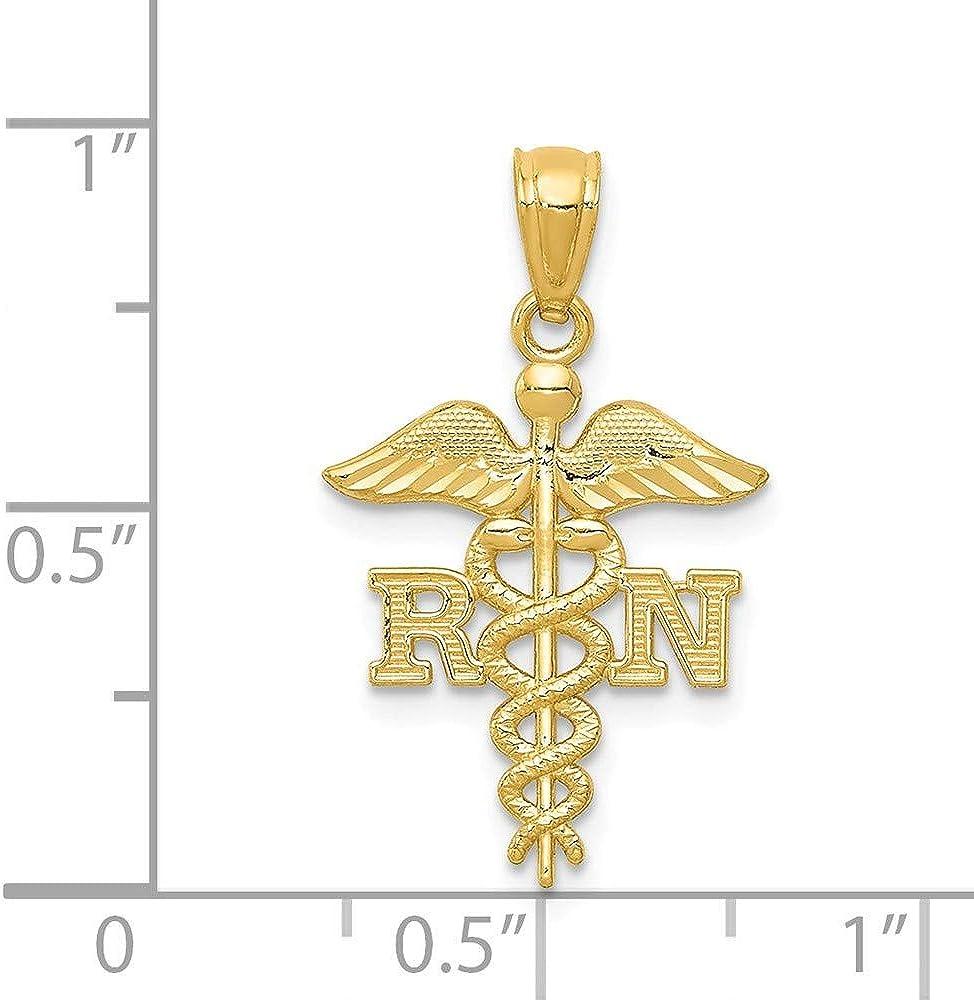 14k Sparkle-Cut Polished RN Nurse Pendant