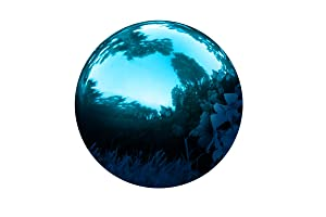 "Gazing Mirror Ball - Stainless Steel - By Trademark Innovations (Blue, 10"")"
