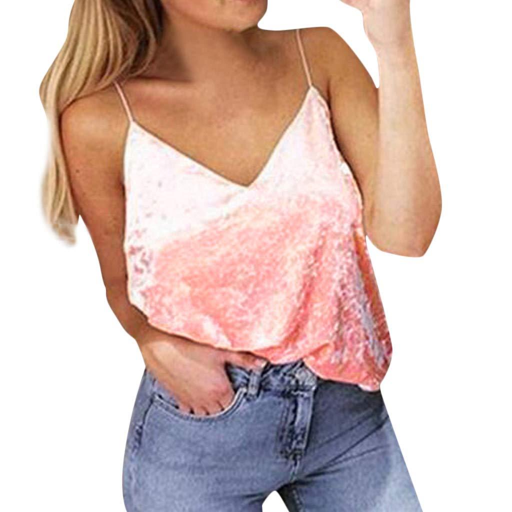 Women V-Neck Vest,Sexy Strappy Bustier Velvet Cropped Tank Top Sleeveless Swing Bralette Bra Camisole Blouse (L, Pink)
