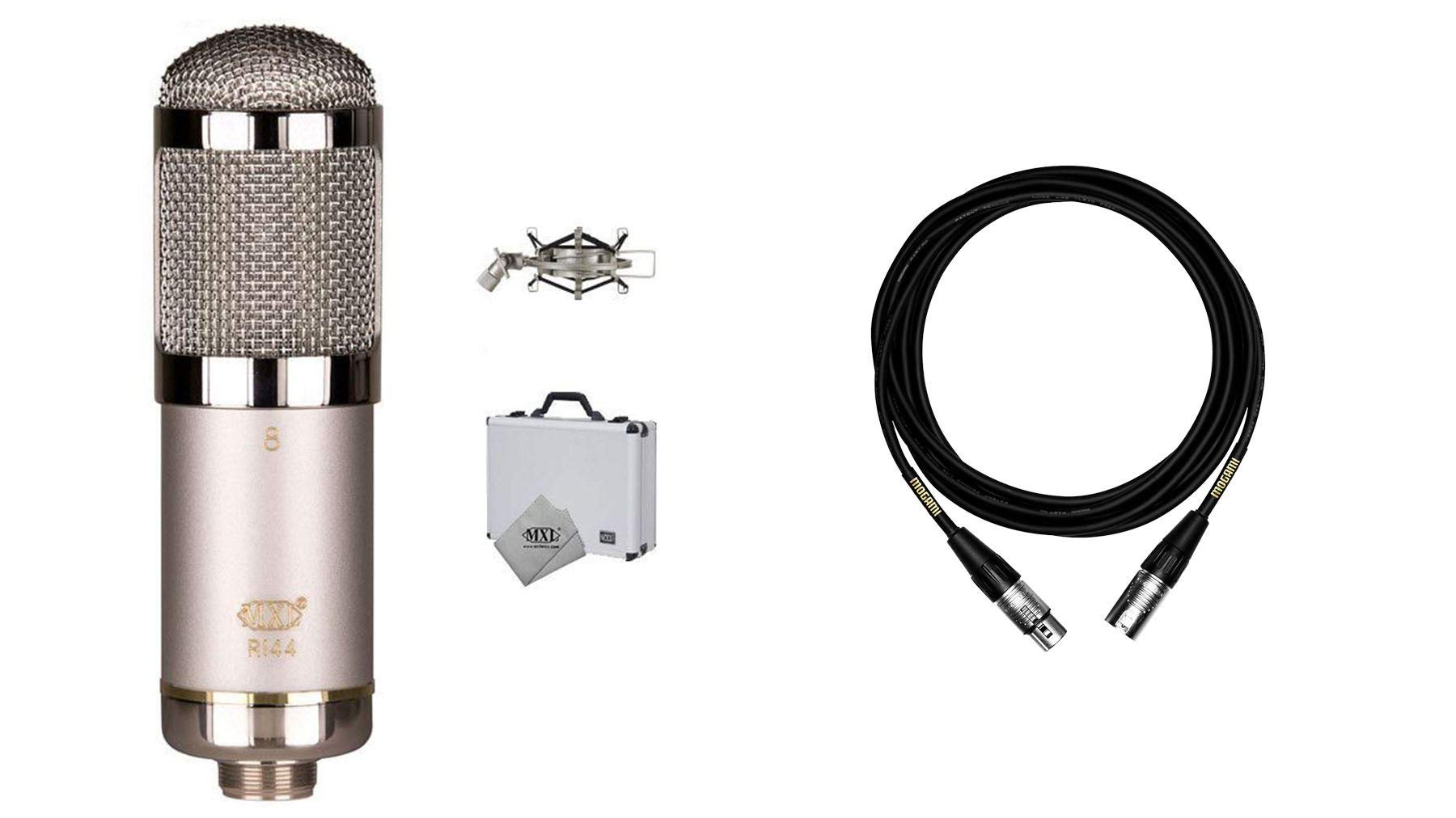 MXL R144 HE Microphone Bundle with Premium 15-foot XLR Mogami Cable (2 Items) by MXL