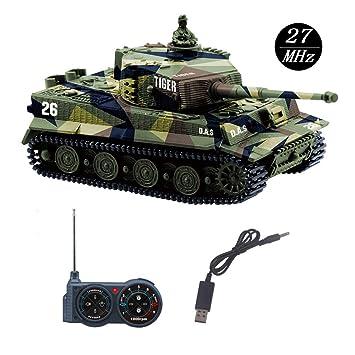 YouCute Mini RC Tank con Cable Cargador USB Control Remoto Tanque Panzer 1:72 German Tiger I con Sonido, torreta giratoria y acción de Retroceso ...