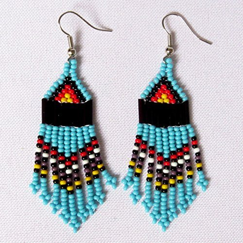 African Zulu beaded earrings - Chandelier NEW DESIGN - Turquoise and multicolour