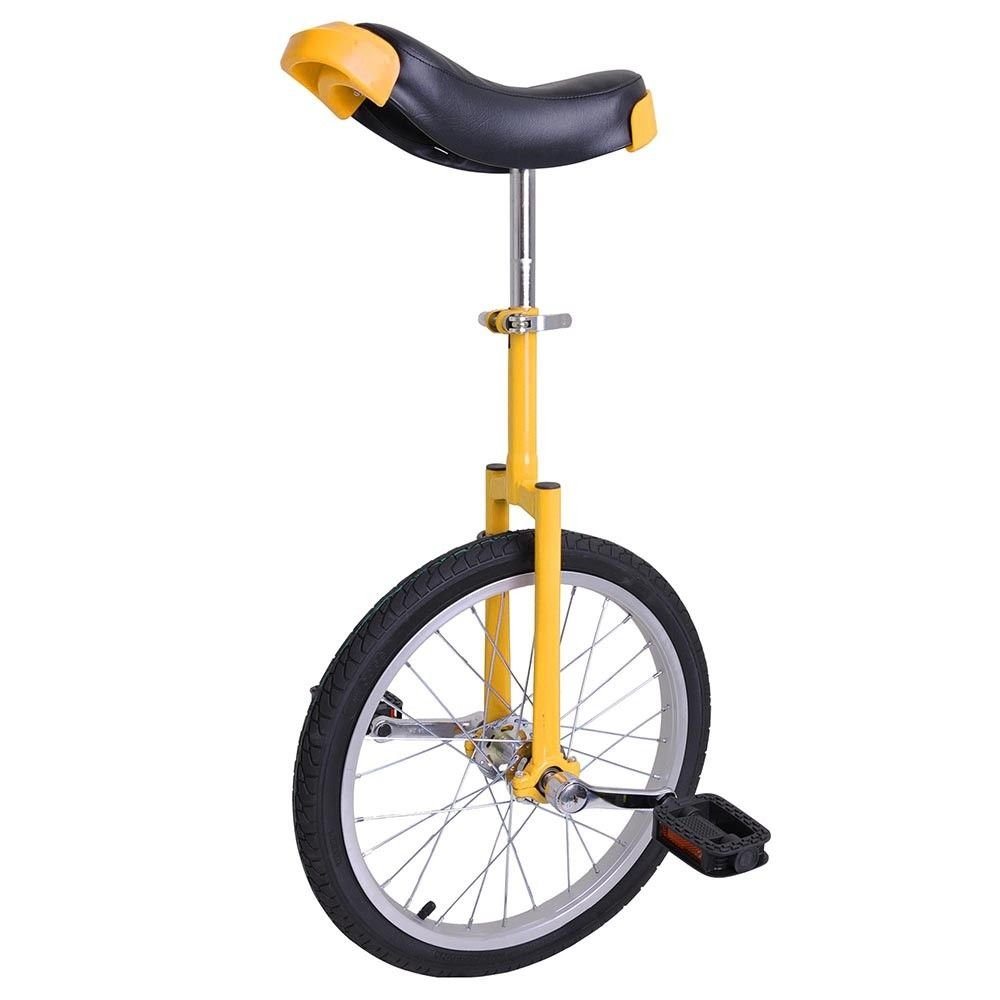 Eight24hours 18'' Yellow Unicycle Cycling Scooter Circus Bike Skidproof Tire Balance Exercise