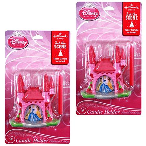 [2pk Disney Princess Hallmark Castle Shaped Candle Holders with Tapered Candles] (Disney Princess Cinderella Candle)