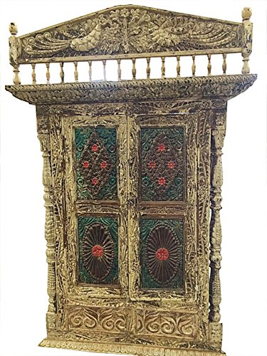 Mogul Indian Jharokha Carved Peacock Rustic Architectural Window Door Wall Sculpture 18c by Mogul Interior