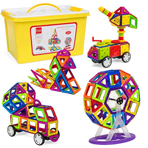 Magnetic Construction Toy - Best Choice Products 254-Piece Kids Magnetic Building Block Tiles Educational STEM Toy Set w/ Storage Box - Multicolor