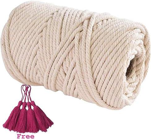 Cuerda trenzada de algodón hecha a mano decoraciones Aosika 100% algodón natural bohemia macramé DIY pared colgador de planta manualidades tejer 4 mm cuerda de regalo cuatro borlas: Amazon.es: Hogar
