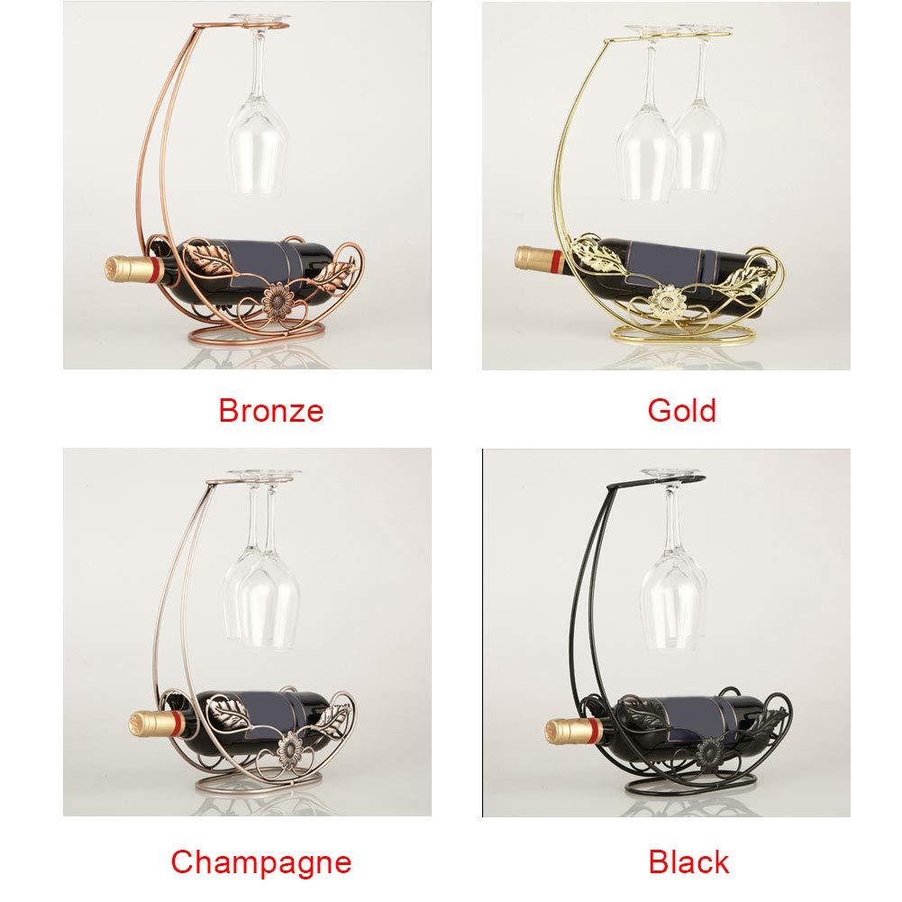 Porta Bottiglie di Vino Taglia Libera Champagne HINMAY Porta Bottiglie di Vino in Ferro battuto in Stile Europeo