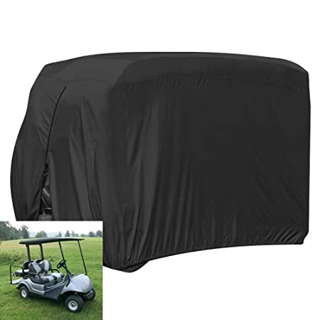 Review FLYMEI 2/4 Passenger Waterproof Golf Cart Cover, Fits EZ GO Club Car Yamaha Golf Carts, Sunproof Dust Prevention and Durable, Black