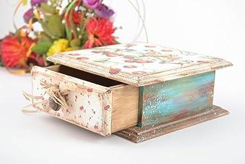 Caja de madera hecha a mano de decoupage joyero original regalo para mujer: Amazon.es: Hogar