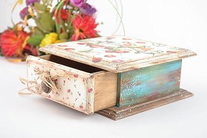 Caja de madera hecha a mano de decoupage joyero original regalo para mujer