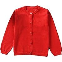 GSVIBK Girls Cardigan Long Sleeve Crewneck Cardigan Knit Button Cardigans Solid Sweaters Baby Girl