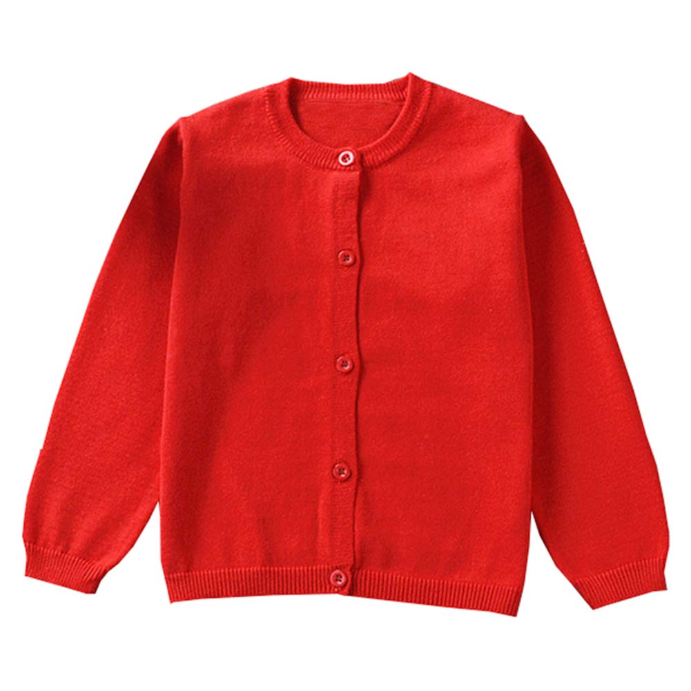 Guandiif Girls Cardigan Knit Sweaters Long Sleeve Button Front Cotton Knit Sweater