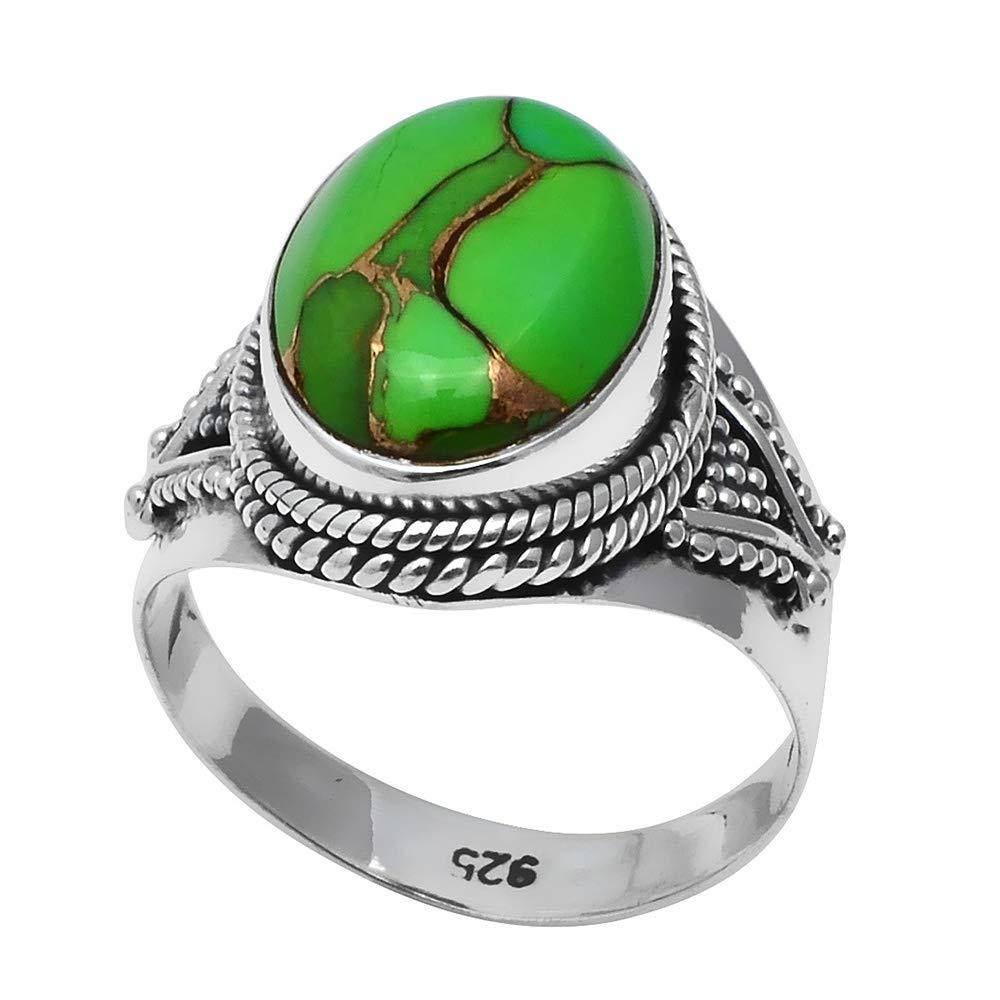 8 NiaoZaiFei YunZaiKan Genuine Green Copper Turquoise Ring 925 Sterling Silver,USA Size 2SR0191