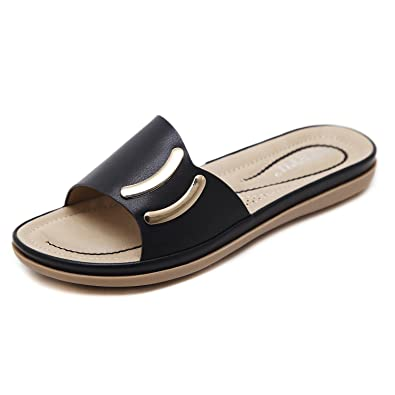 KUONUO Damen Sandalen Hausschuhe Flach PU Leder Beach Sandals Slippers fur Frauen Pink 37 r6xwe