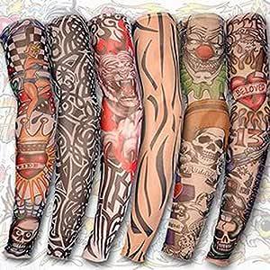 6 PCS Hombres Mujeres protector solar Mano tatuaje falso brazo de ...