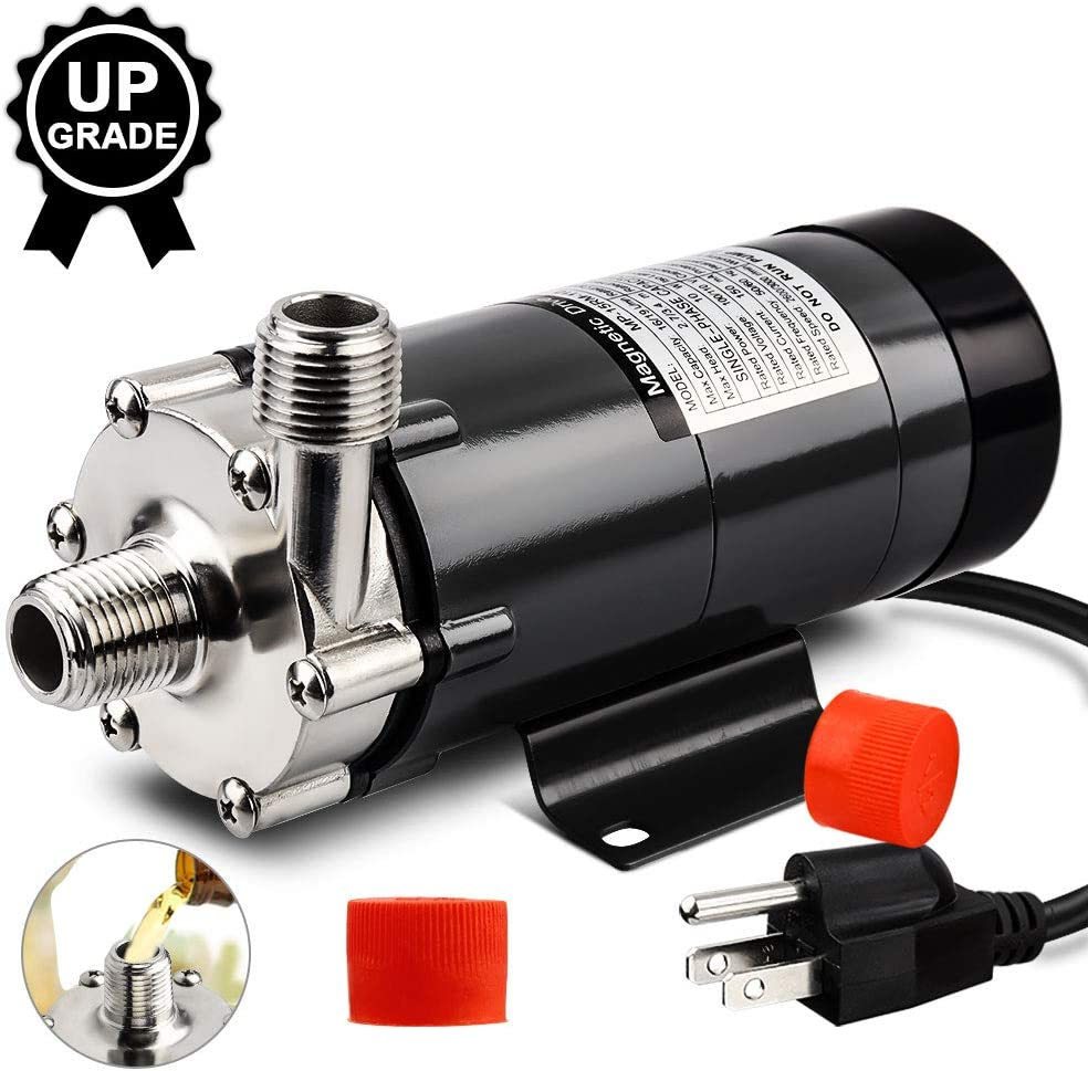 MRbrew Upgrade Magnetic Beer Pump, Food Grade Stainless Steel Head with 1/2'' Inch Thread, Quiet Circulation Operation, Excellent High Temperature Resistance System Pump for Brewing