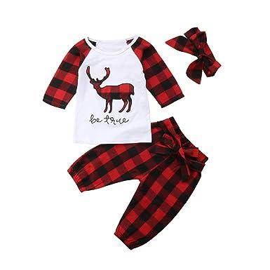 3Pcs Christmas Outfit Baby Boys Bear Ruffle Top Plaid Checked Long Pant  with Bowknot Headband Clothes - Amazon.com: 3Pcs Christmas Outfit Baby Boys Bear Ruffle Top Plaid