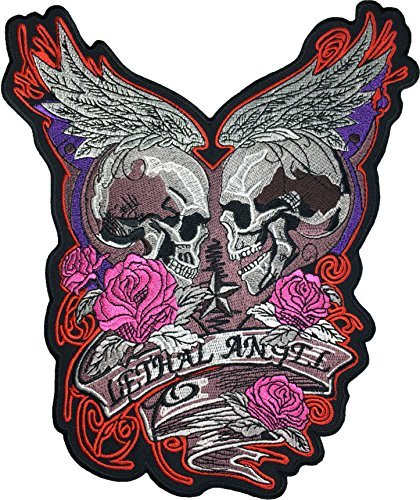 [Large Size] Papapatch Lethal Angel Skull Pink Roses Wings Star Biker Punk Ride Chopper Motorcycle Costume Jacket Vest Back DIY Embroidered Applique Sew Iron on Patch (IRON-LETHAL-ANGEL) ()
