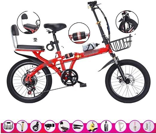Paseo Bicicleta Plegable Bicicleta De Cambio Ultraligera para Adultos 16/20 Pulgadas Cambio De 6 Velocidades Bicicleta Portátil De Viaje Al Aire Libre: Amazon.es: Hogar