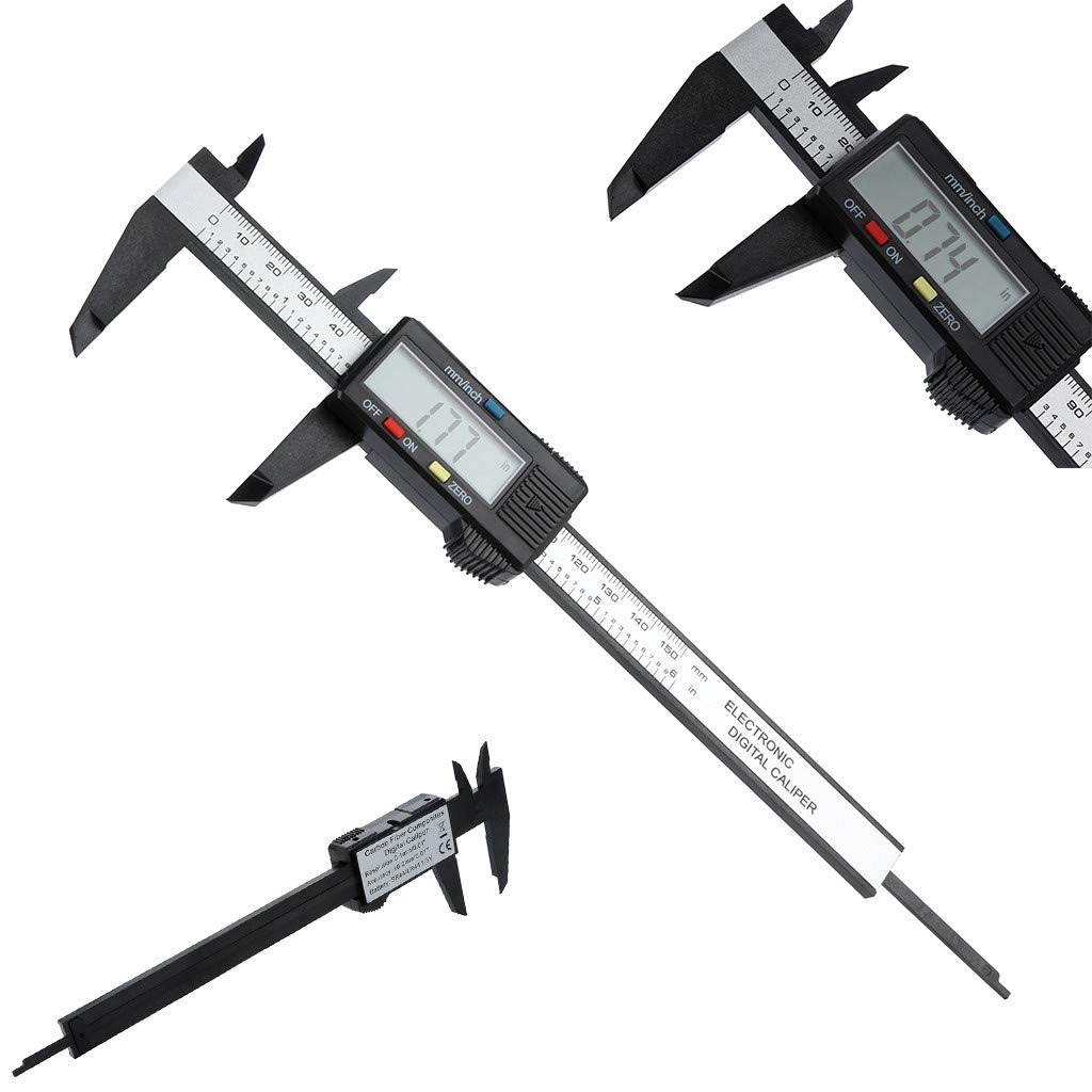 150mm//6inch Vernier Caliper Electronic Digital Caliper with Extra Larger LCD Screen Millimeter//Inch Conversion Carbon Fiber Vernier Caliper Gauge Micrometer
