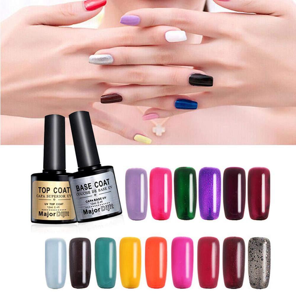 UV LED Gel Nail Polish Base Coat And No Wipe Top Coat Kit, UV LED Nail Varnish Polish Kit Quick Dry Manicure Set - 12ml Each Foonee