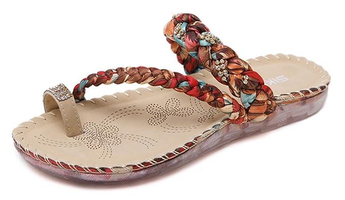 Damen Sommer Strandschuhe Böhmische Stil Schuhe Strass Flip Flops Peep Toe Flache Sandalen ax7iitch