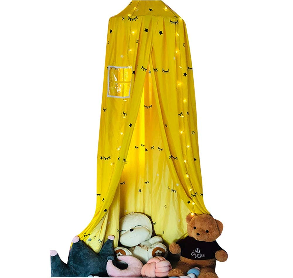Princess Hanging Dome Mosquito Net with Window Light Blocking Curtains Bed Canopy, Girls Bedroom Bedside Tent, Home Decoration Playing Reading Tent, Bedding Dome Tent,Yellow