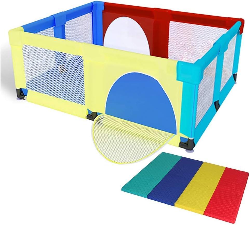 厚手のマット付きのベビーベビーベビーベビーペン、安全なロールオーバー防止 子供用ゲームフェンス、高さ70 cm(色:カラフル、サイズ:150×150×70cm)
