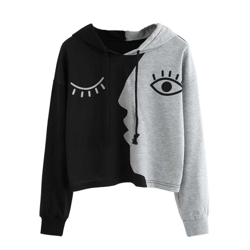 Princer 2018 Women Sweatshirt,Hooded Long Sleeve Crop Black Grey Patchwork Blouse Pullover Tops