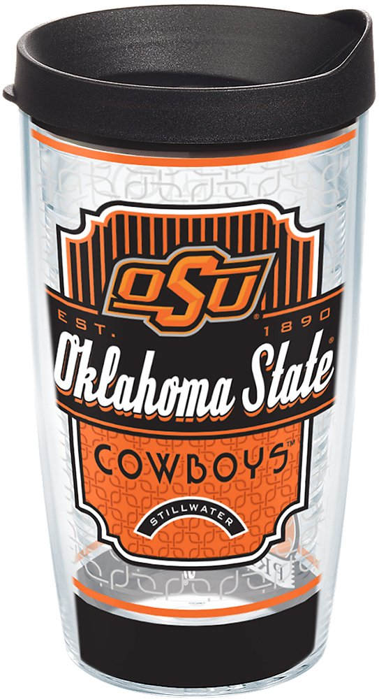 Tervis 1229138 Oklahoma State Cowboys Pregame Prep Tumbler with Wrap and Black Lid 16oz, Clear