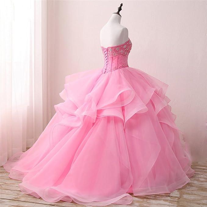 c125185fb03 Amazon.com  Diandiai Sweetheart Quinceanera Dress Beads Ruffles Ball Gown  Prom Dress  Clothing