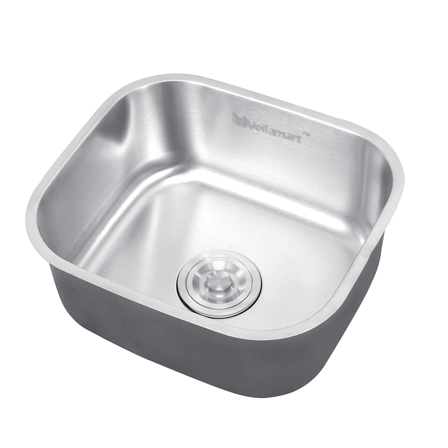 voilamart steel stainless kitchen sink 1 0 single bowl square sink rh amazon co uk square kitchen sink with drainer square kitchen sink vs round