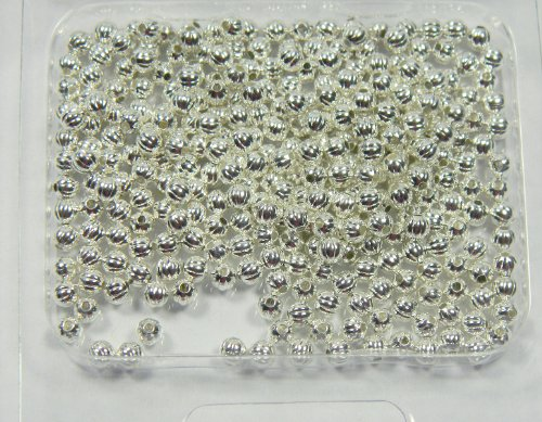 300 Shiny Silver Plated Brass Beads , 3mm Corrugated Round Jewelry Spacer Metal Bead Pkg of (Plated Corrugated Round Beads)