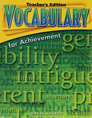 Vocabulary for Achievement: Teacher's Edition Grade 8 Second Course 2006