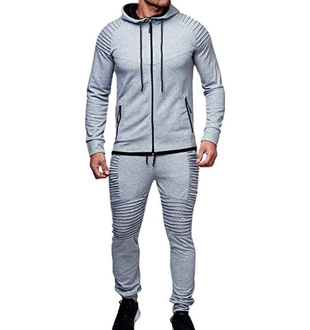 Men's Tracksuit Set Camouflage Sweatshirt Jogger Sweatpants Solid Patchwork Warm Sports Suit (Light Grey, M) by lisenraIn