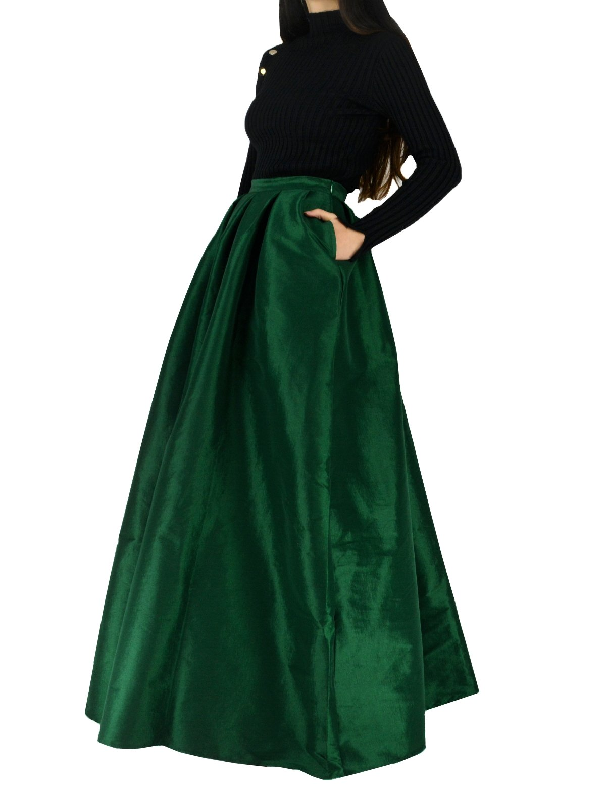YSJERA Women's High Waist A-Line Pleated Maxi Skirts Party Swing Skirt with Pockets (14, Green)
