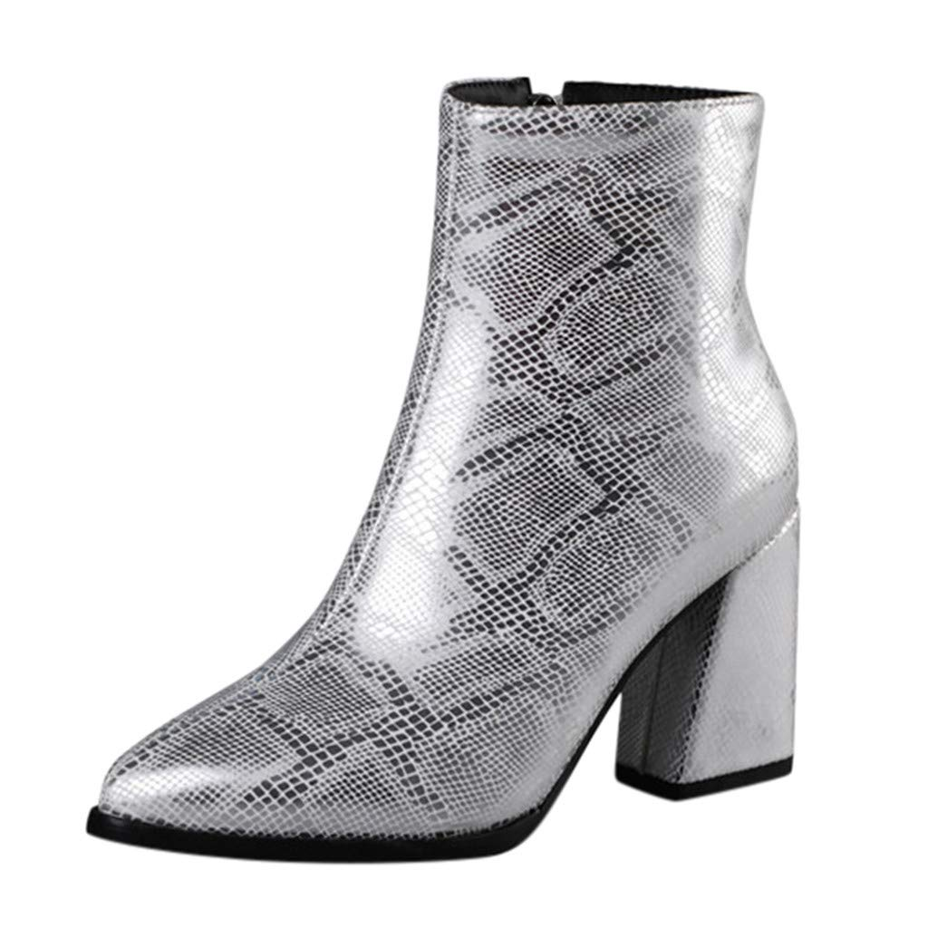 ZOMUSAR Women's Boots, Fashion Women's Pointed High-Heeled Snake Print Shoes Ankle Large Size Booties by ZOMUSAR