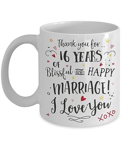 16th Wedding Anniversary.Amazon Com 16th Wedding Anniversary Gift Mug Blissful Happy