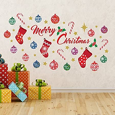 Wallflexi Christmas Decorations Wall Stickers Merry Decoration Set Murals Decals Living Room Children Nursery