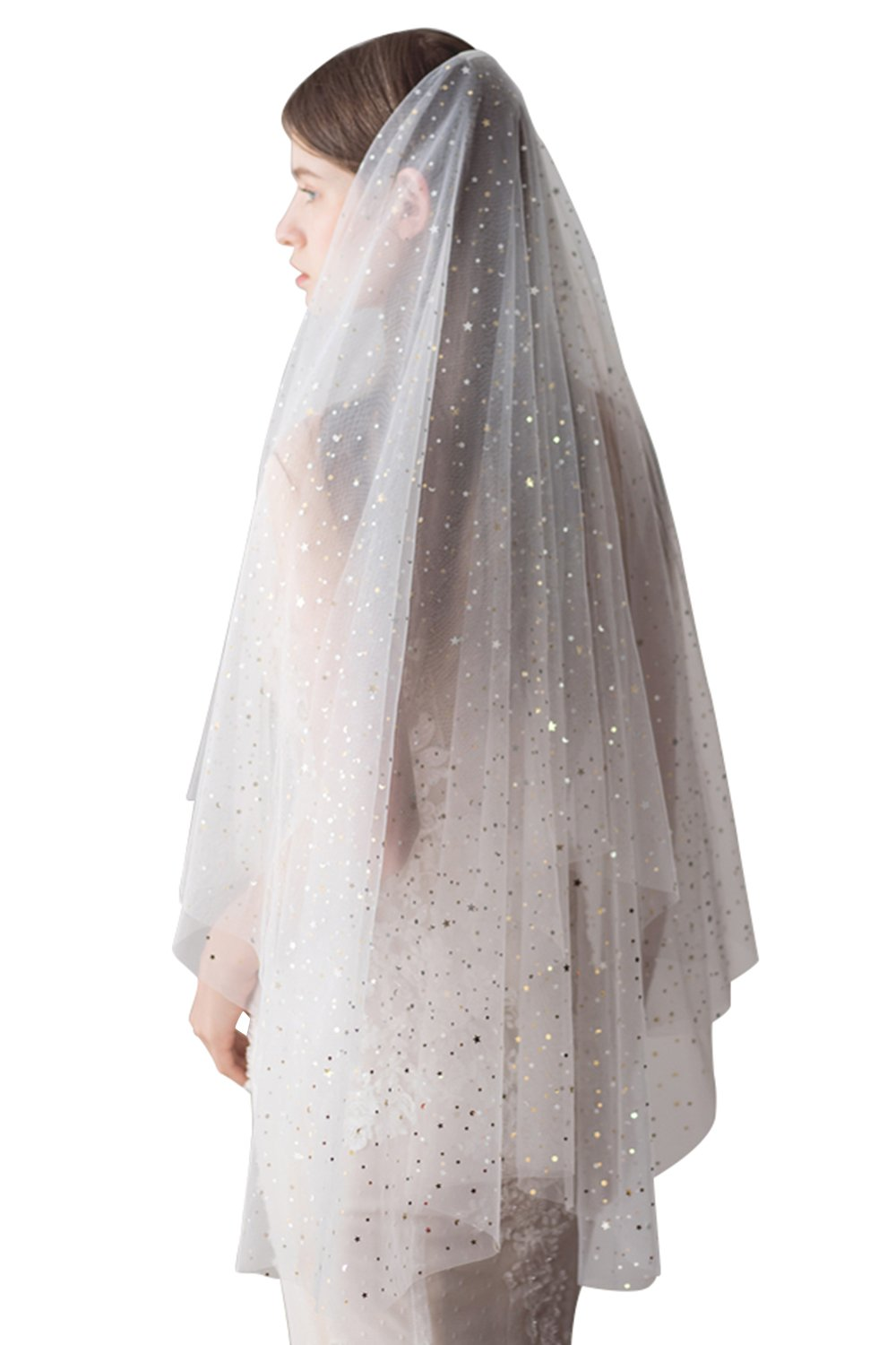 Women's 1 Layer Glitter Stars Sequins Bridal Veil Short Wedding Veil Ivory