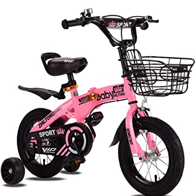 LINGS Foldable Bicycle Kids' Bikes Boys 2-8 Years Old Children's Bicycle Folding Baby Pedal Bicycle 18 inch Female Child Stroller Bicycle: Home & Kitchen