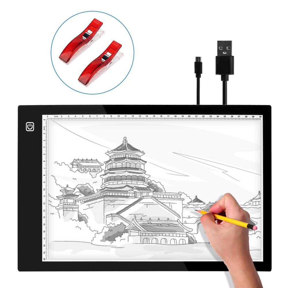LED Copy Board,NEWNEN Tracing Light Pad, A4 Super Thin LED Drawing Copy Tracing Light with Brightness Adjustable and USB Power Cable for Artists, Drawing, Animation, Sketching, Designing