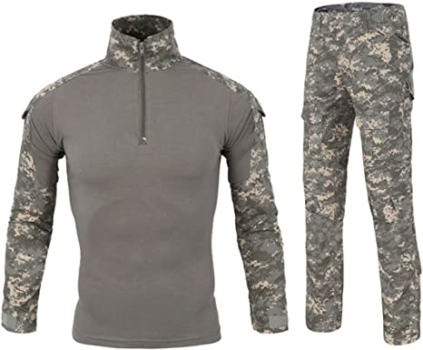 QCHENG Camisa y Pantalones tácticos Militares para Hombre, Camuflaje Militar, Caza, Airsoft, Paintball, Uniforme de Combate BDU, Secado rápido (UPC, Mediano): Amazon.es: Deportes y aire libre