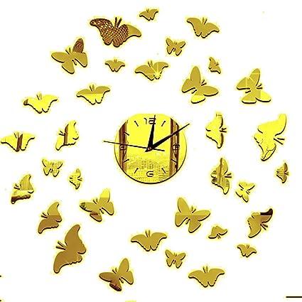 DIY Reloj de pared adhesivo murales chezmax mariposa en 3d papel pintado adhesivo para decoración de