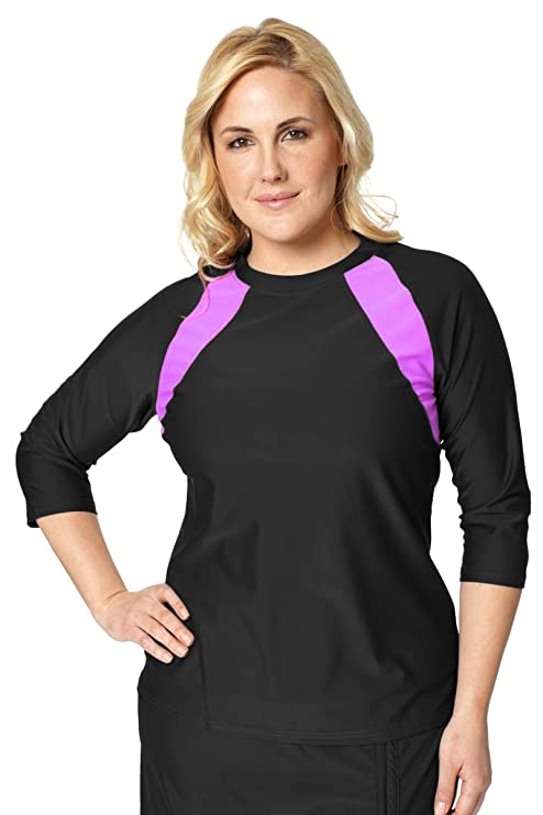 4fc010c773 HydroChic Plus Size Accelerate Swim n  Sports Shirt 0X in Black Pink Orchid